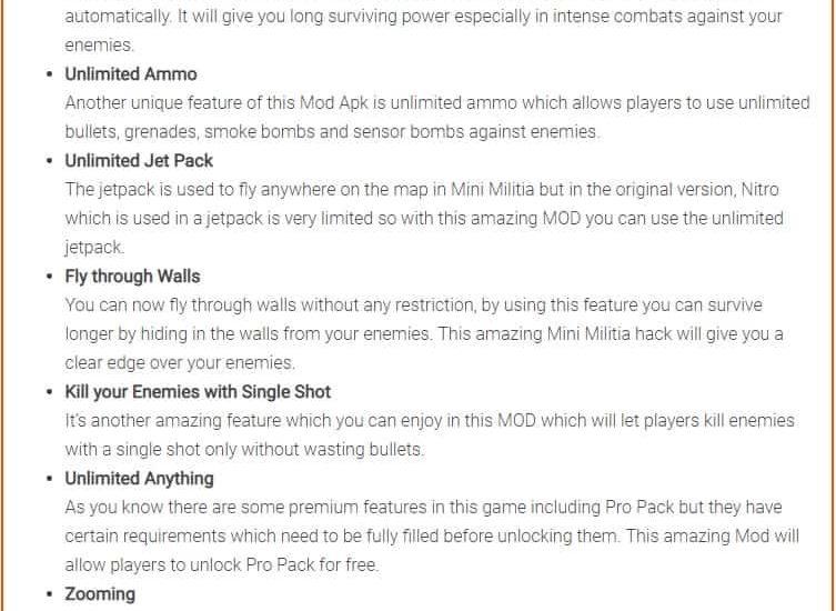 Mini Militia Mod APK Features